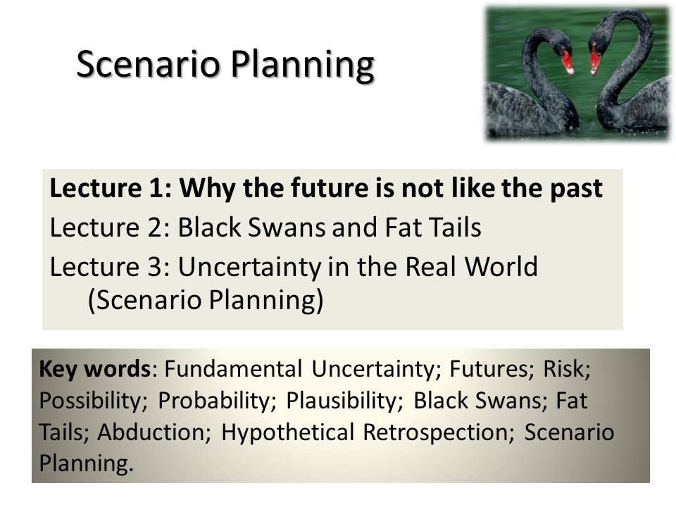 Scenario Planning Lecture 1: Why the future is not like the past Lecture 2: Black Swans and Fat Tails Lecture 3: Uncertainty in the Real World (Scenar