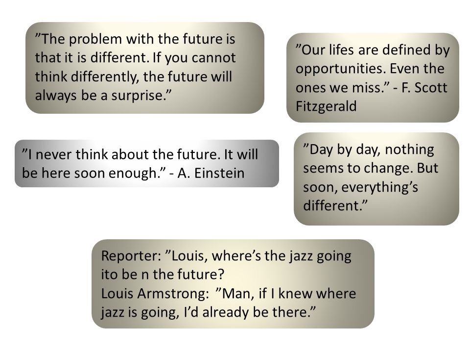 The problem with the future is that it is different.