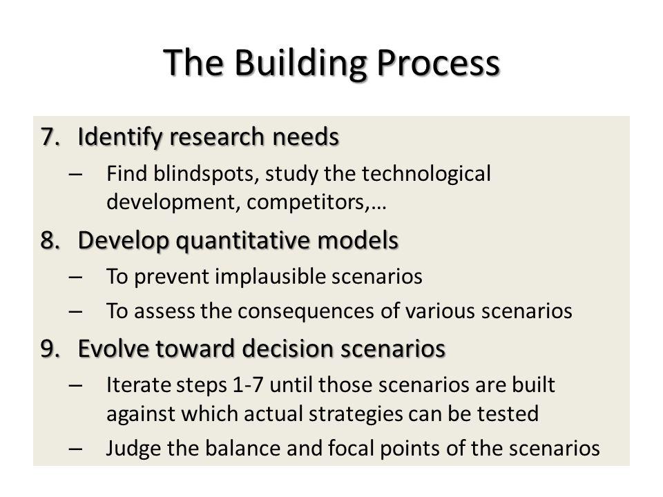 The Building Process 7.Identify research needs – Find blindspots, study the technological development, competitors,… 8.Develop quantitative models – T