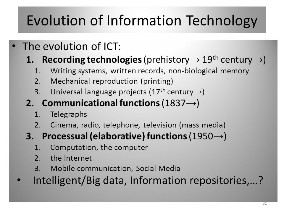 Evolution of Information Technology The evolution of ICT: 1.Recording technologies (prehistory 19 th century ) 1.Writing systems, written records, non-biological memory 2.Mechanical reproduction (printing) 3.Universal language projects (17 th century ) 2.Communicational functions (1837 ) 1.Telegraphs 2.Cinema, radio, telephone, television (mass media) 3.Processual (elaborative) functions (1950 ) 1.Computation, the computer 2.the Internet 3.Mobile communication, Social Media Intelligent/Big data, Information repositories,….