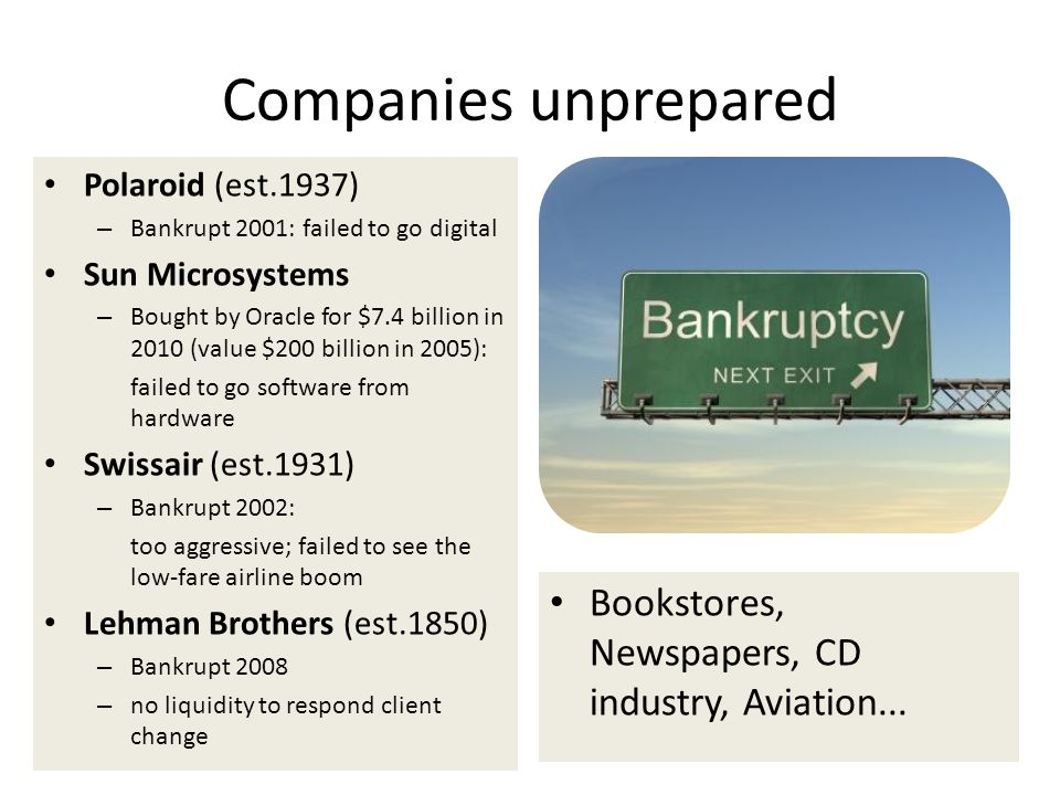 Companies unprepared Polaroid (est.1937) – Bankrupt 2001: failed to go digital Sun Microsystems – Bought by Oracle for $7.4 billion in 2010 (value $20