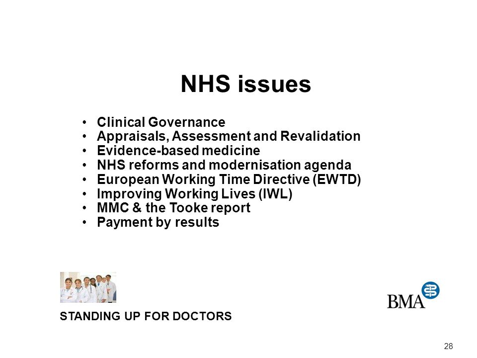 28 NHS issues Clinical Governance Appraisals, Assessment and Revalidation Evidence-based medicine NHS reforms and modernisation agenda European Working Time Directive (EWTD) Improving Working Lives (IWL) MMC & the Tooke report Payment by results STANDING UP FOR DOCTORS