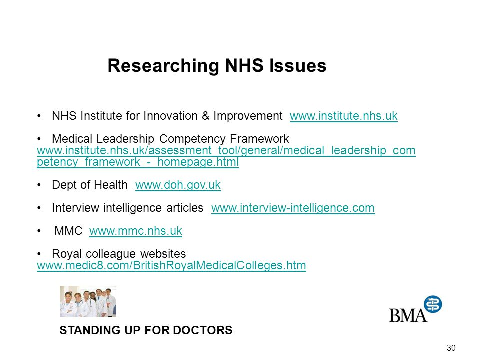 30 Researching NHS Issues NHS Institute for Innovation & Improvement www.institute.nhs.ukwww.institute.nhs.uk Medical Leadership Competency Framework