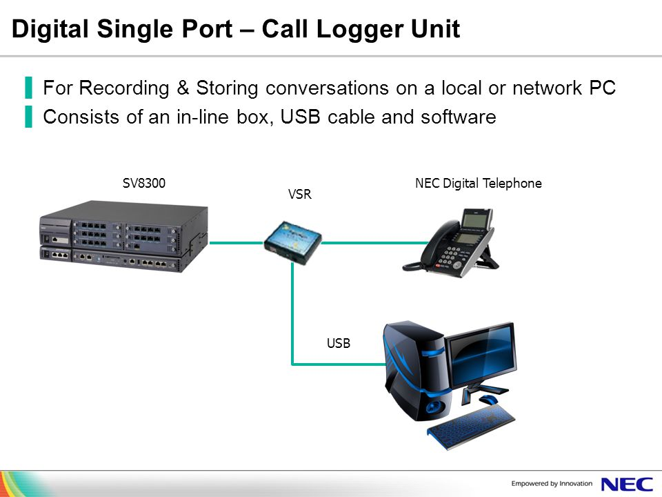 Digital Single Port – Call Logger Unit For Recording & Storing conversations on a local or network PC Consists of an in-line box, USB cable and softwa