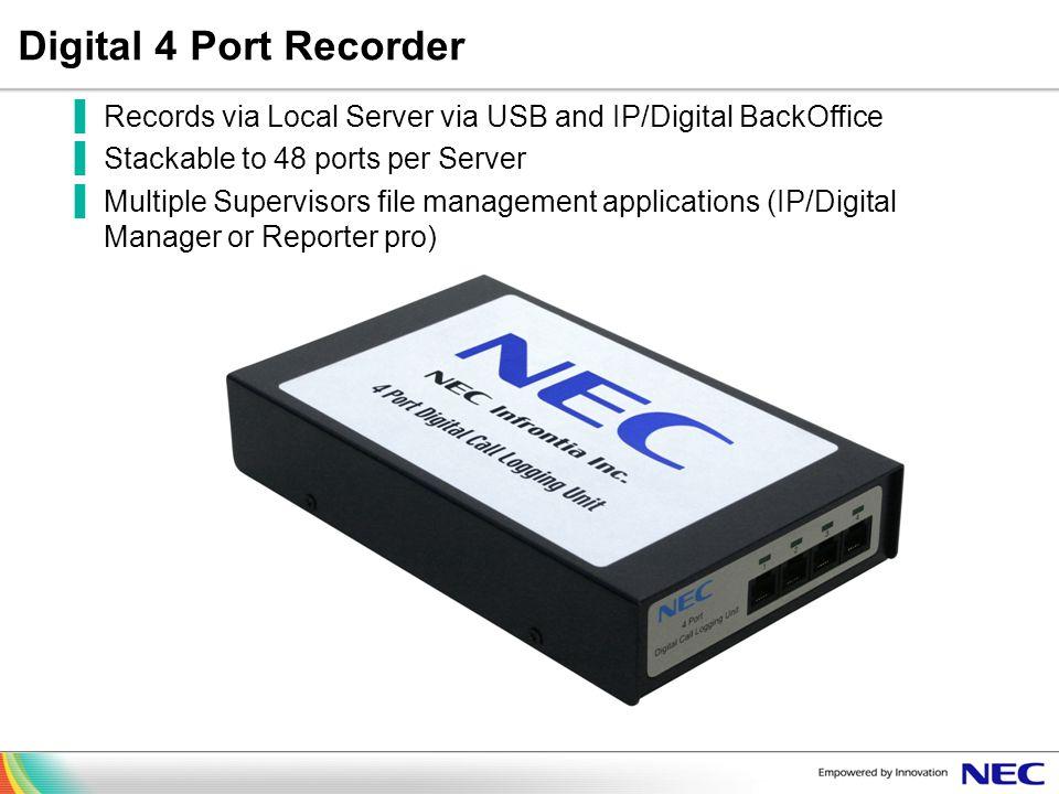 Digital 4 Port Recorder Records via Local Server via USB and IP/Digital BackOffice Stackable to 48 ports per Server Multiple Supervisors file manageme