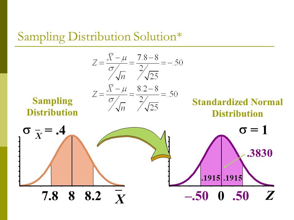 Sampling Distribution 8 X =.4 7.88.2 X 0 = 1 –.50 Z.50.3830 Standardized Normal Distribution.1915 Sampling Distribution Solution*