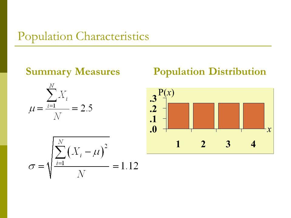 Population DistributionSummary Measures.0.1.2.3 1234 P(x) x Population Characteristics