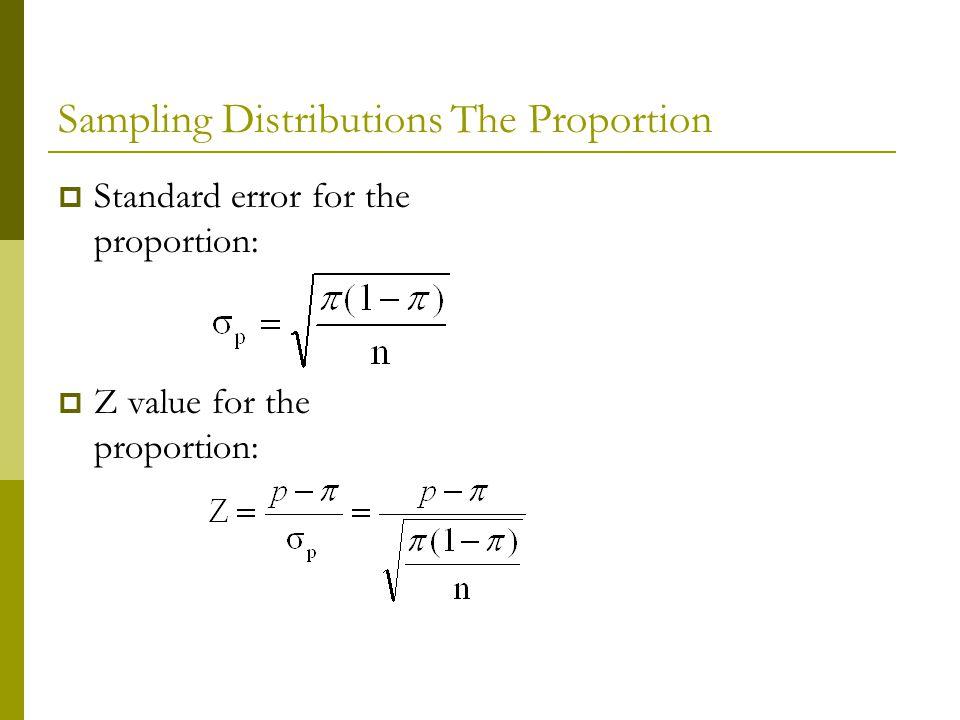 Standard error for the proportion: Z value for the proportion: Sampling Distributions The Proportion