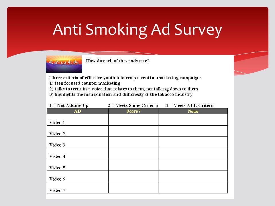 Anti Smoking Ad Survey