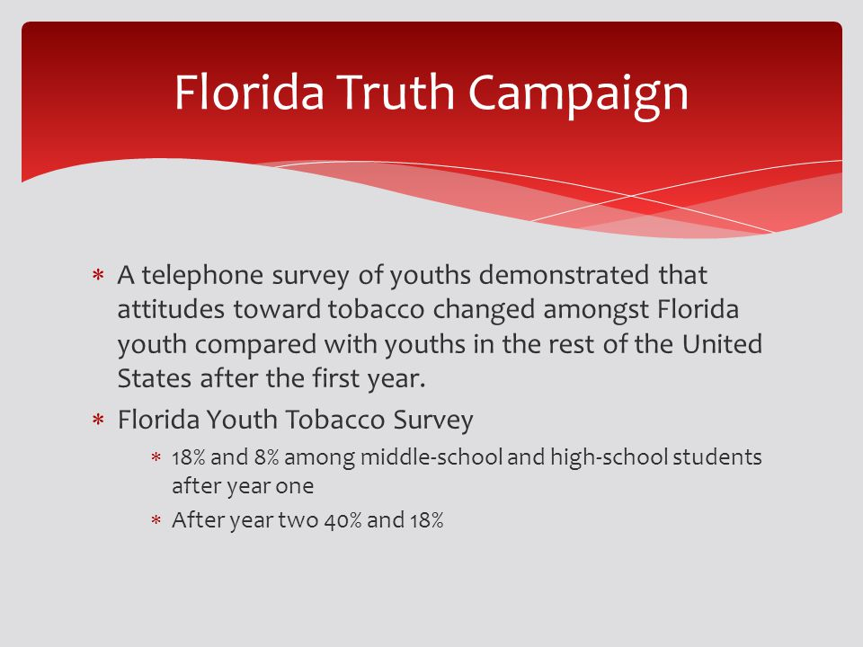 A telephone survey of youths demonstrated that attitudes toward tobacco changed amongst Florida youth compared with youths in the rest of the United S