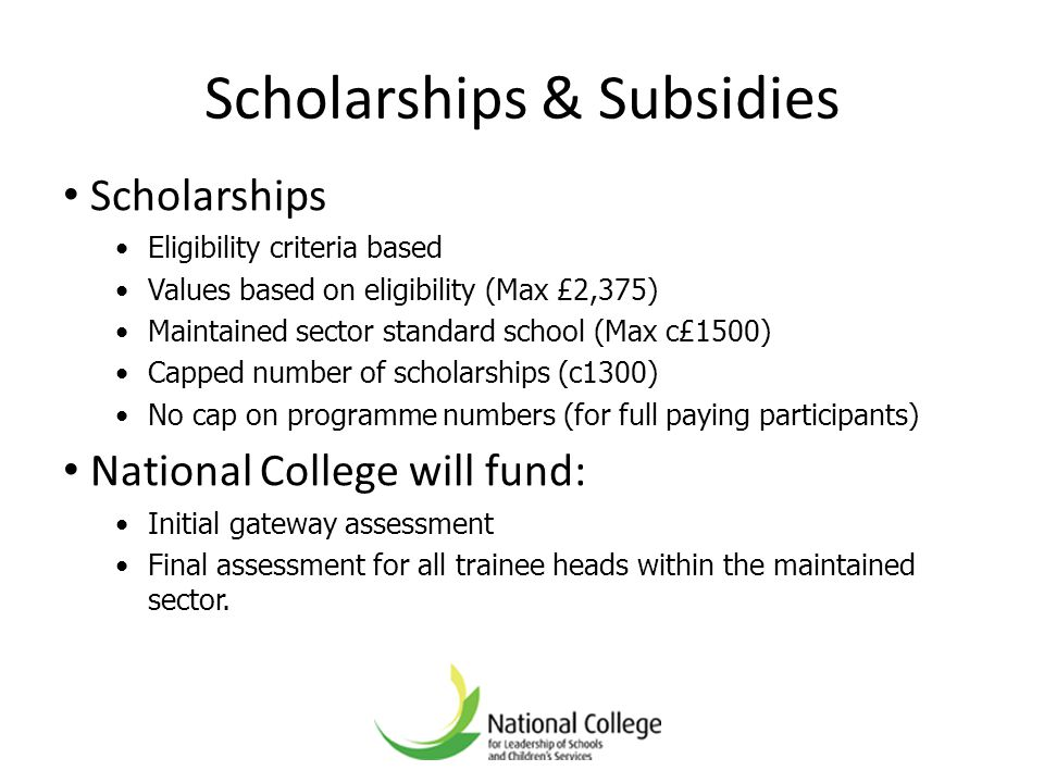 Scholarships & Subsidies Scholarships Eligibility criteria based Values based on eligibility (Max £2,375) Maintained sector standard school (Max c£150