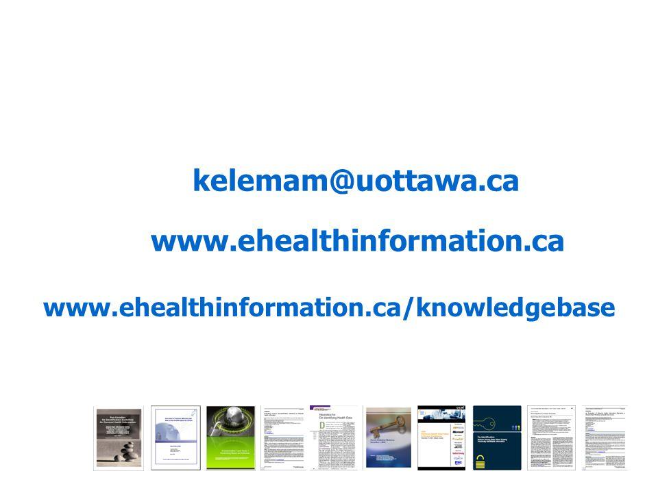 www.ehealthinformation.ca www.ehealthinformation.ca/knowledgebase kelemam@uottawa.ca