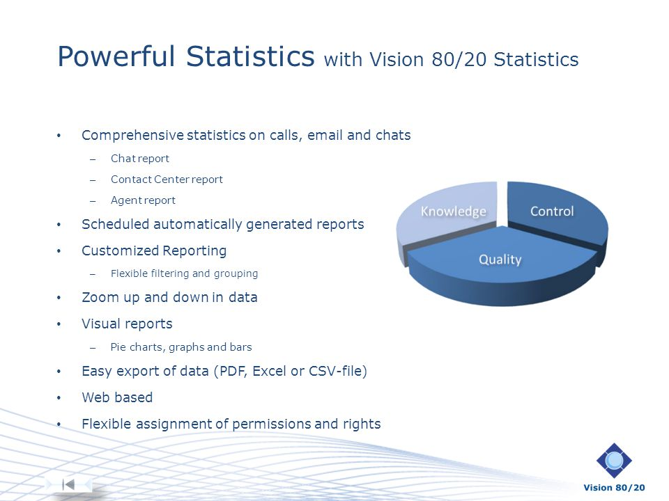 Powerful Statistics with Vision 80/20 Statistics Comprehensive statistics on calls, email and chats – Chat report – Contact Center report – Agent repo