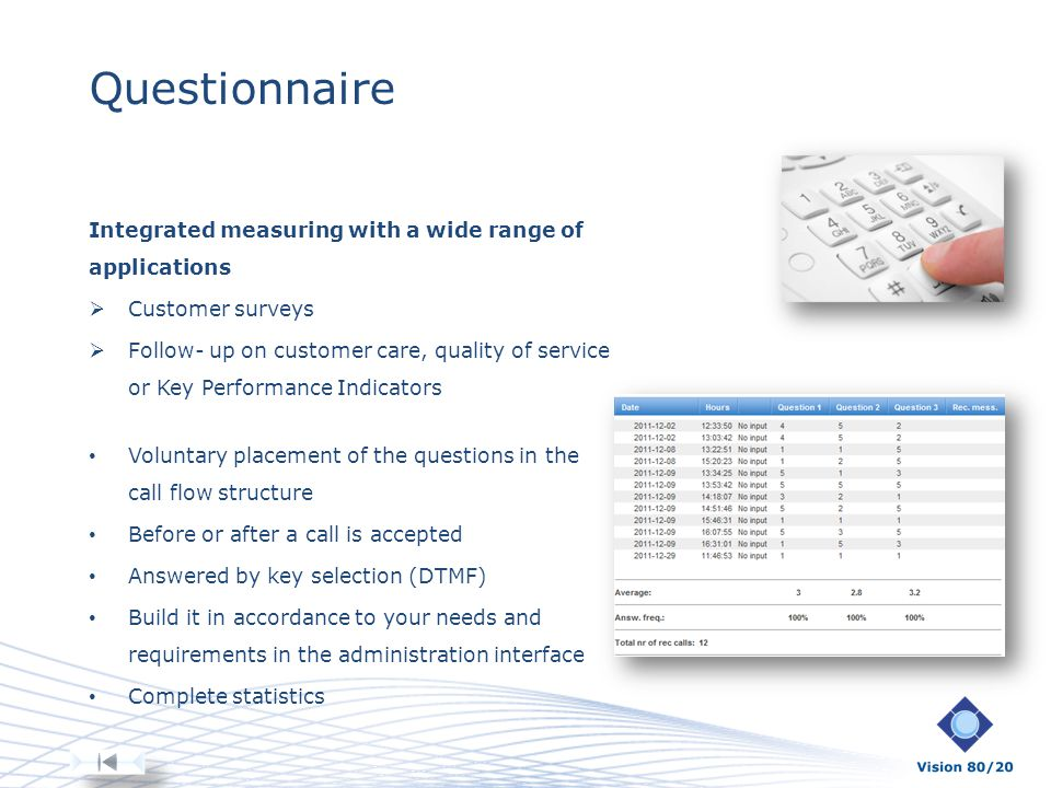 Questionnaire Integrated measuring with a wide range of applications Customer surveys Follow- up on customer care, quality of service or Key Performan