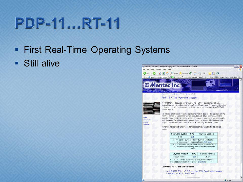 First Real-Time Operating Systems Still alive