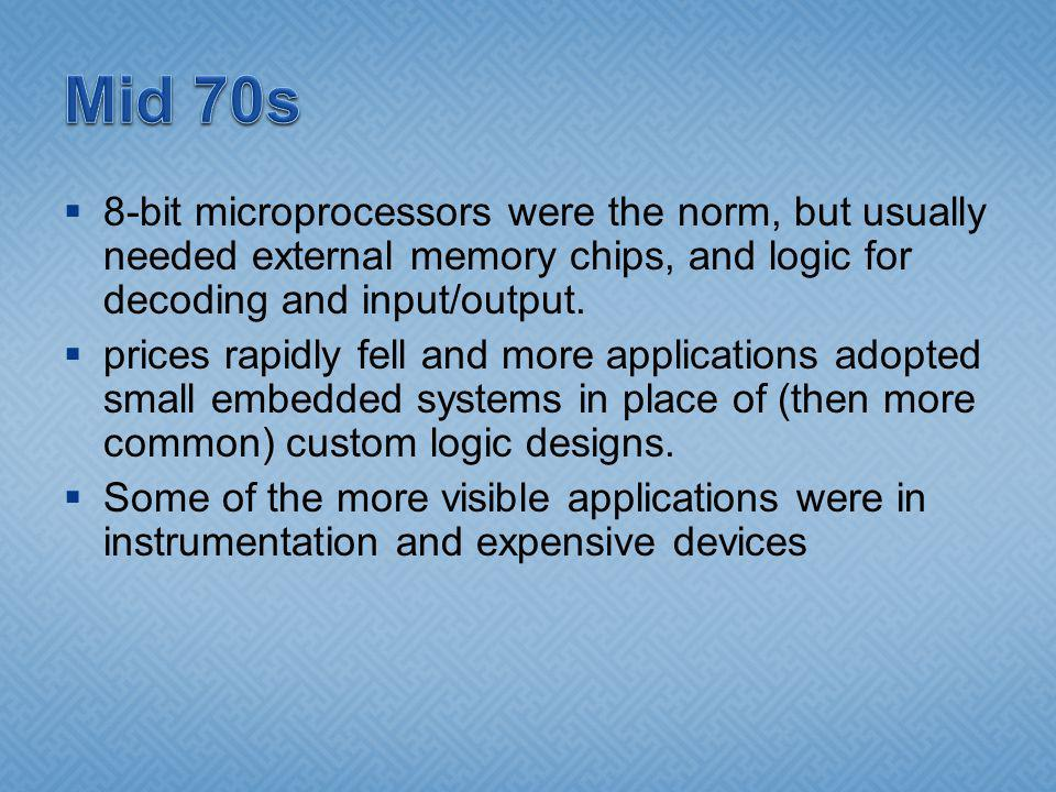 8-bit microprocessors were the norm, but usually needed external memory chips, and logic for decoding and input/output. prices rapidly fell and more a