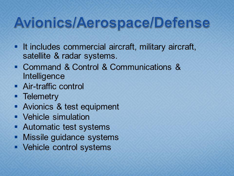 It includes commercial aircraft, military aircraft, satellite & radar systems. Command & Control & Communications & Intelligence Air-traffic control T