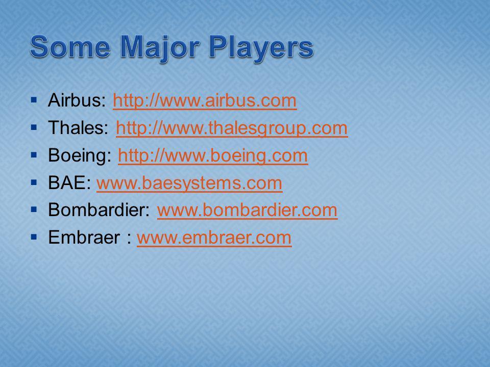 Airbus: http://www.airbus.comhttp://www.airbus.com Thales: http://www.thalesgroup.comhttp://www.thalesgroup.com Boeing: http://www.boeing.comhttp://www.boeing.com BAE: www.baesystems.comwww.baesystems.com Bombardier: www.bombardier.comwww.bombardier.com Embraer : www.embraer.comwww.embraer.com