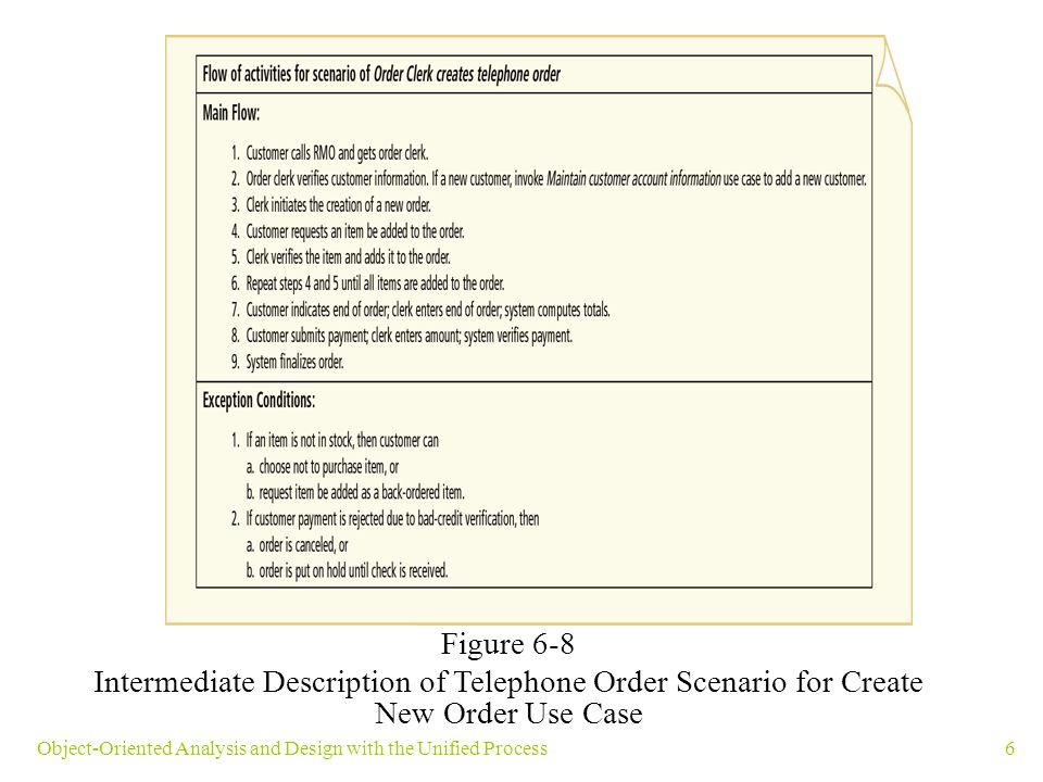 6Object-Oriented Analysis and Design with the Unified Process Figure 6-8 Intermediate Description of Telephone Order Scenario for Create New Order Use
