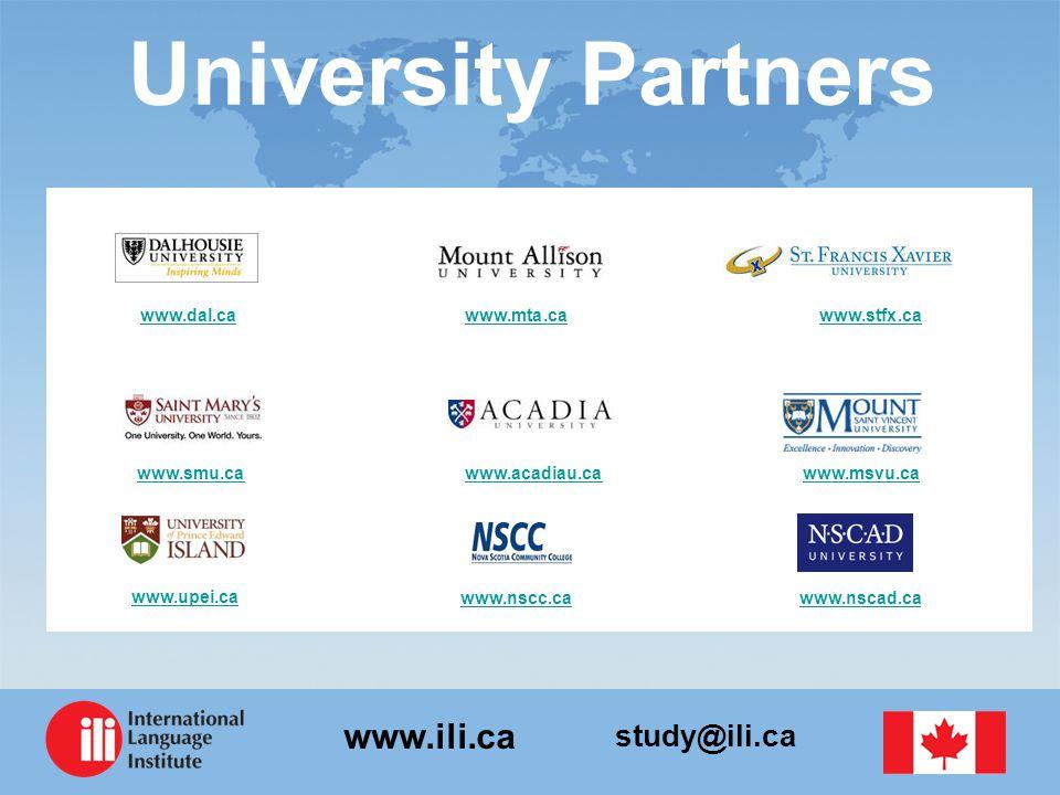 study@ili.ca www.ili.ca University Partners www.dal.cawww.dal.ca www.mta.ca www.stfx.cawww.mta.cawww.stfx.ca www.smu.ca www.acadiau.ca www.msvu.cawww.