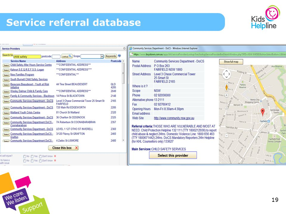 19 Service referral database