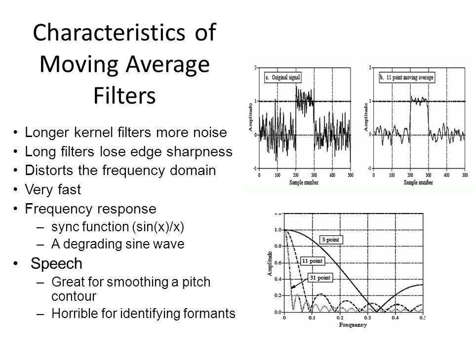 Characteristics of Moving Average Filters Longer kernel filters more noise Long filters lose edge sharpness Distorts the frequency domain Very fast Fr