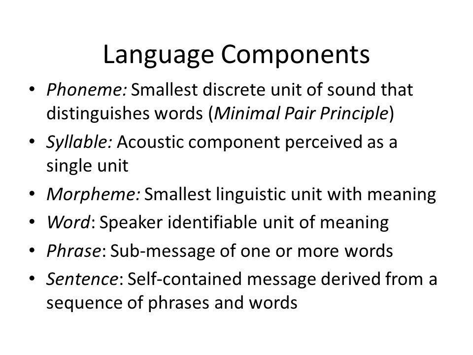 Language Components Phoneme: Smallest discrete unit of sound that distinguishes words (Minimal Pair Principle) Syllable: Acoustic component perceived