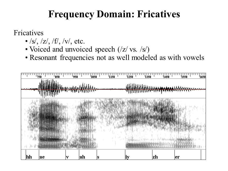Frequency Domain: Fricatives Fricatives /s/, /z/, /f/, /v/, etc. Voiced and unvoiced speech (/z/ vs. /s/) Resonant frequencies not as well modeled as