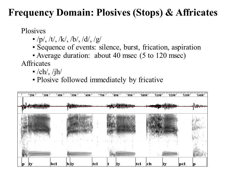 Frequency Domain: Plosives (Stops) & Affricates Plosives /p/, /t/, /k/, /b/, /d/, /g/ Sequence of events: silence, burst, frication, aspiration Averag