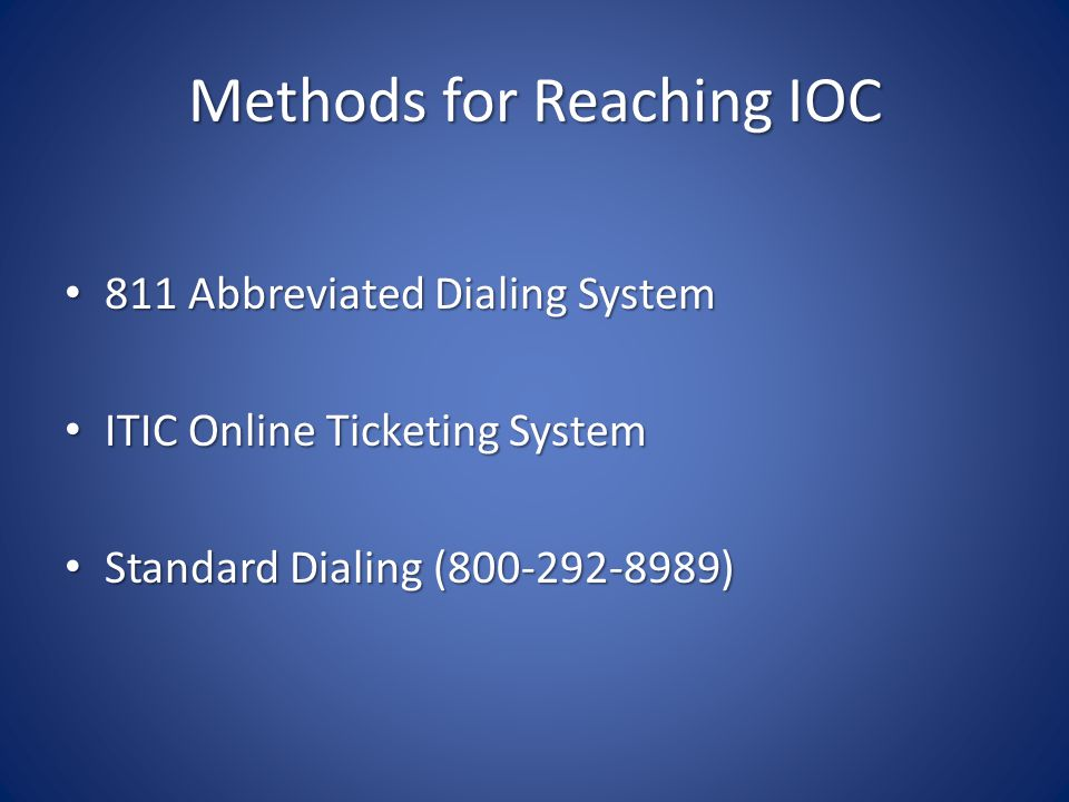 Methods for Reaching IOC 811 Abbreviated Dialing System 811 Abbreviated Dialing System ITIC Online Ticketing System ITIC Online Ticketing System Standard Dialing (800-292-8989) Standard Dialing (800-292-8989)