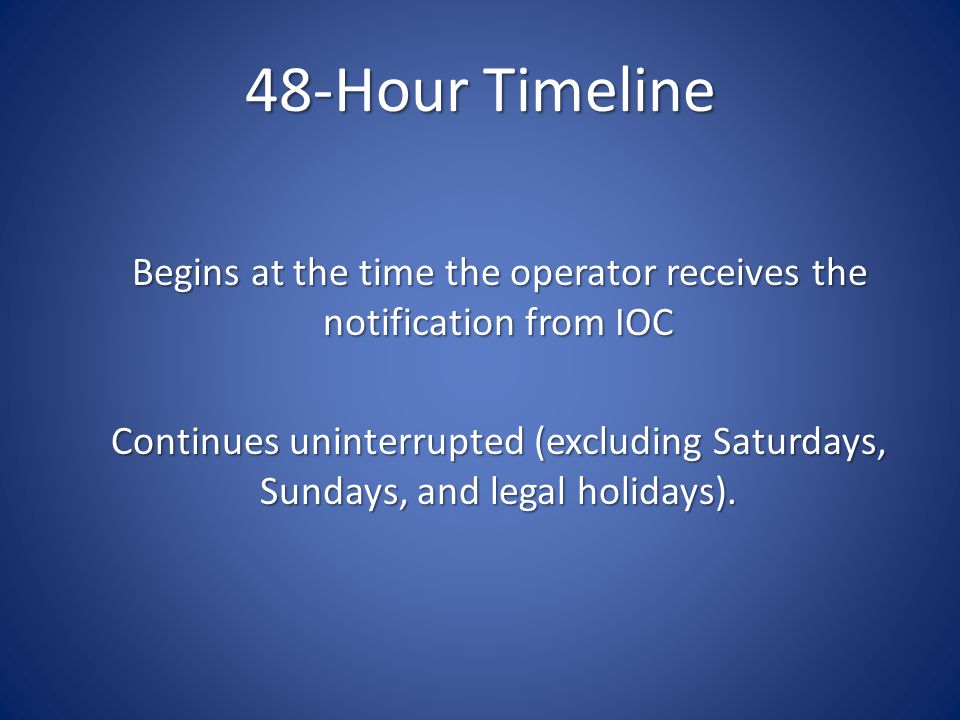 48-Hour Timeline Begins at the time the operator receives the notification from IOC Continues uninterrupted (excluding Saturdays, Sundays, and legal holidays).