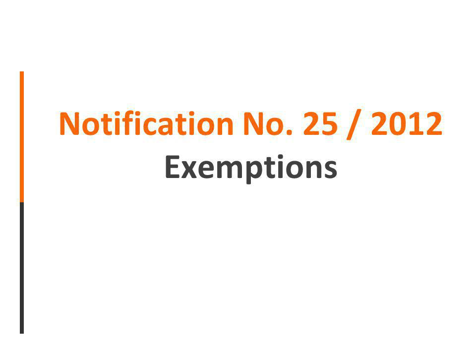 Notification No. 25 / 2012 Exemptions
