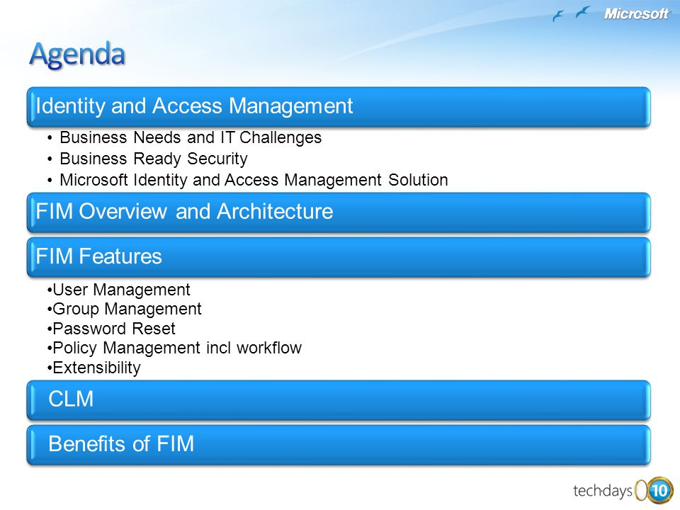 Identity and Access Management Business Needs and IT Challenges Business Ready Security Microsoft Identity and Access Management Solution FIM Overview