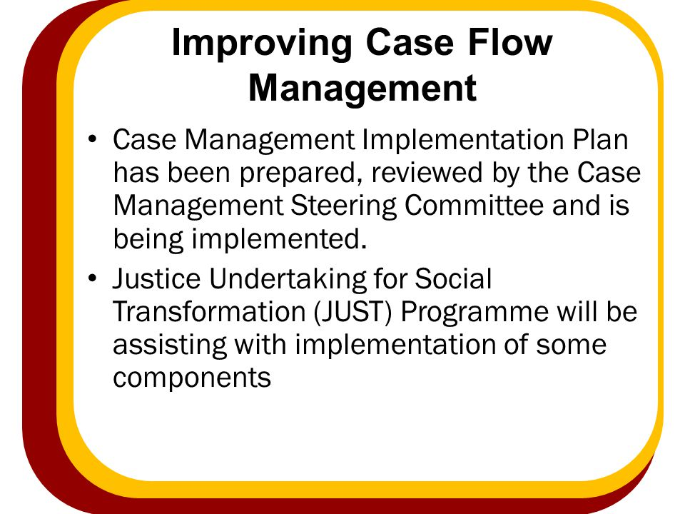 Improving Case Flow Management Case Management Implementation Plan has been prepared, reviewed by the Case Management Steering Committee and is being