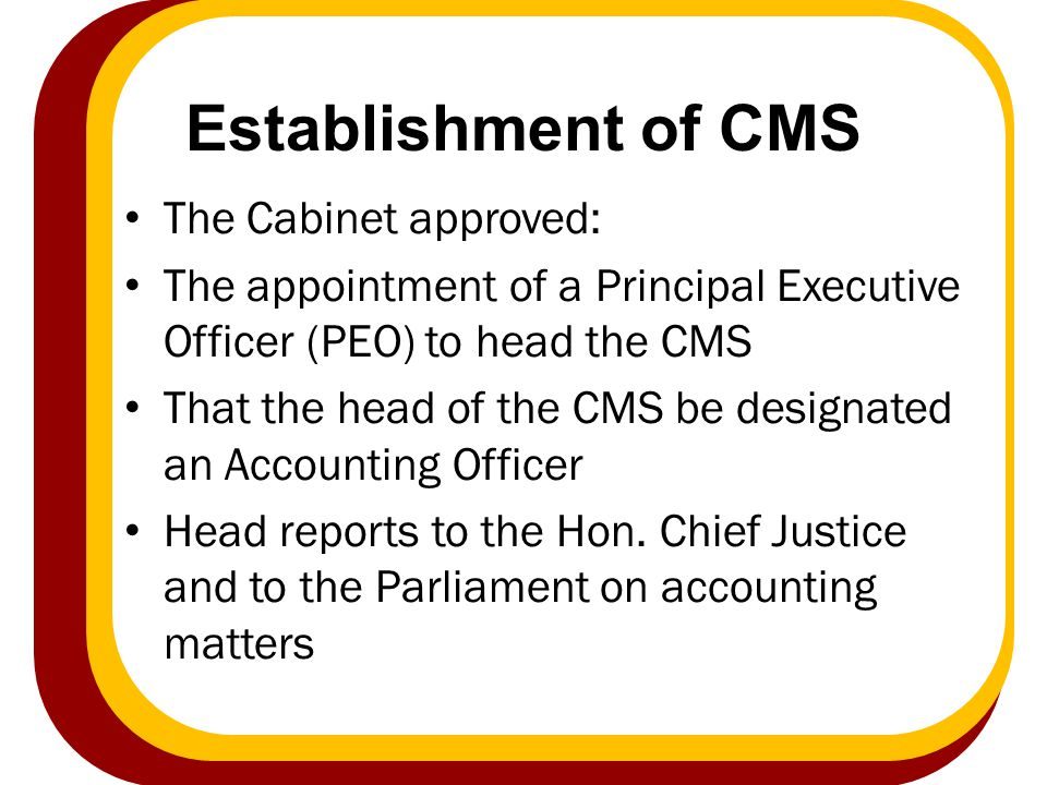 Establishment of CMS The Cabinet approved: The appointment of a Principal Executive Officer (PEO) to head the CMS That the head of the CMS be designat