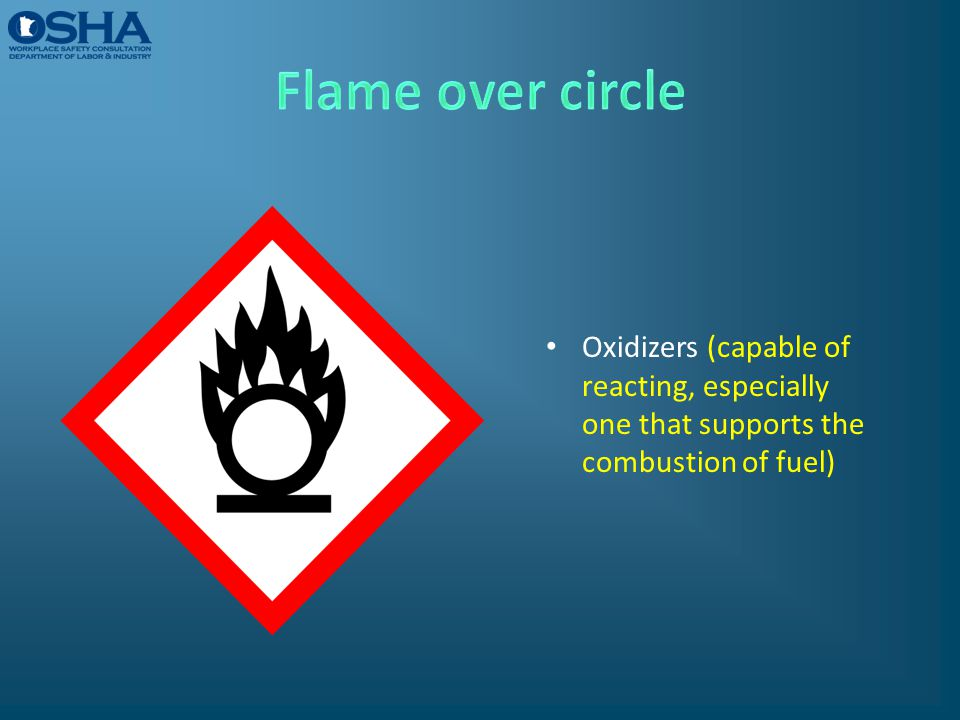 Oxidizers (capable of reacting, especially one that supports the combustion of fuel)