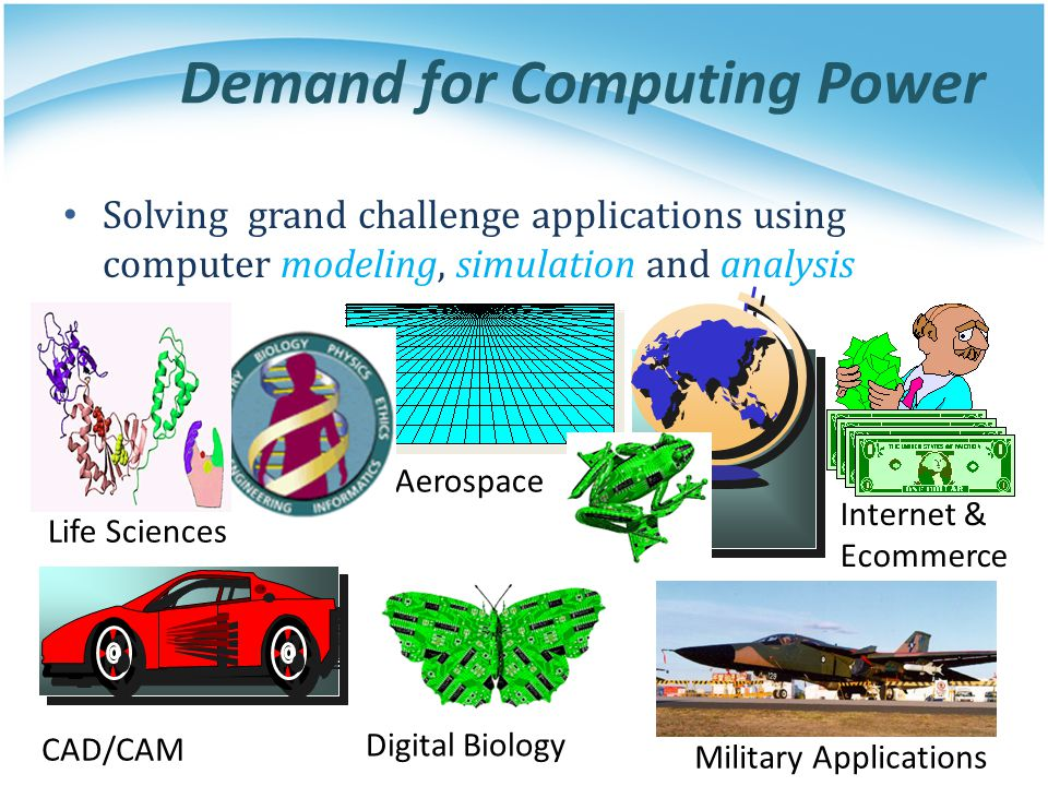 Demand for Computing Power Solving grand challenge applications using computer modeling, simulation and analysis Life Sciences CAD/CAM Aerospace Milit