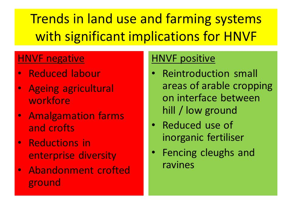 Trends in land use and farming systems with significant implications for HNVF HNVF negative Reduced labour Ageing agricultural workfore Amalgamation farms and crofts Reductions in enterprise diversity Abandonment crofted ground HNVF positive Reintroduction small areas of arable cropping on interface between hill / low ground Reduced use of inorganic fertiliser Fencing cleughs and ravines