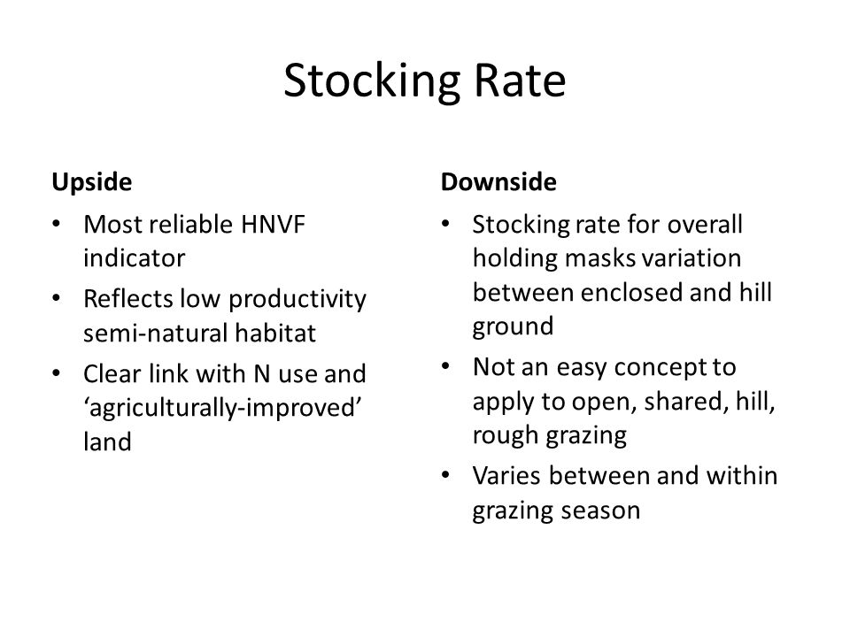 Stocking Rate Upside Most reliable HNVF indicator Reflects low productivity semi-natural habitat Clear link with N use and agriculturally-improved lan