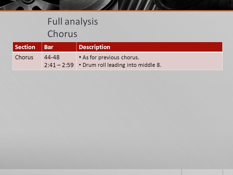 Full analysis Chorus SectionBarDescription Chorus44-48 2:41 – 2:59 As for previous chorus.