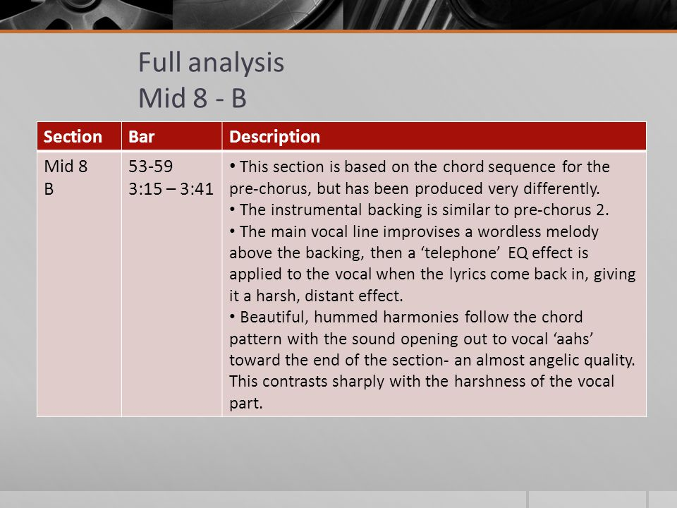Full analysis Mid 8 - B SectionBarDescription Mid 8 B 53-59 3:15 – 3:41 This section is based on the chord sequence for the pre-chorus, but has been produced very differently.