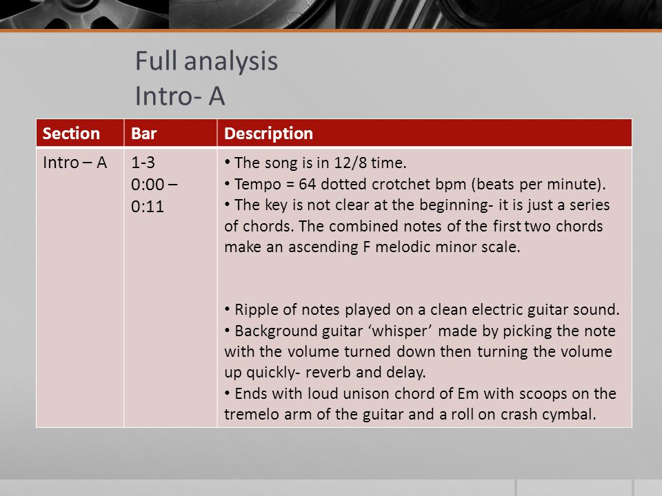 Full analysis Intro- A SectionBarDescription Intro – A1-3 0:00 – 0:11 The song is in 12/8 time.