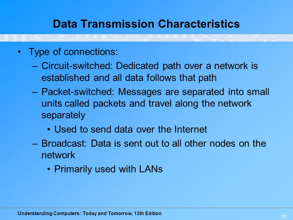 Understanding Computers: Today and Tomorrow, 13th Edition 27 Data Transmission Characteristics Type of connections: –Circuit-switched: Dedicated path