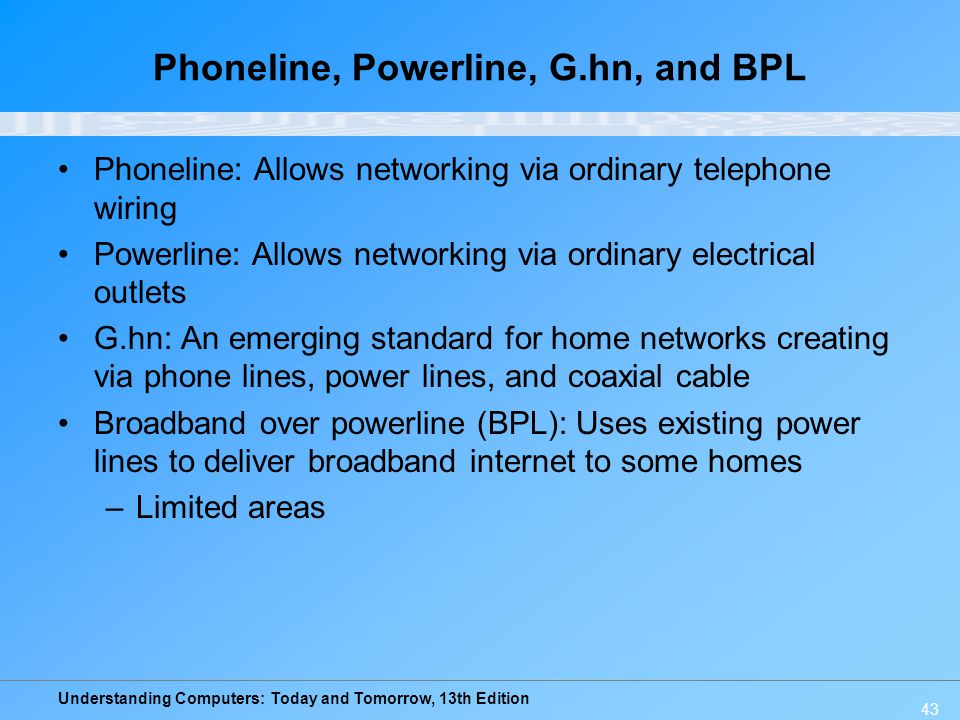 Understanding Computers: Today and Tomorrow, 13th Edition Phoneline, Powerline, G.hn, and BPL Phoneline: Allows networking via ordinary telephone wiri