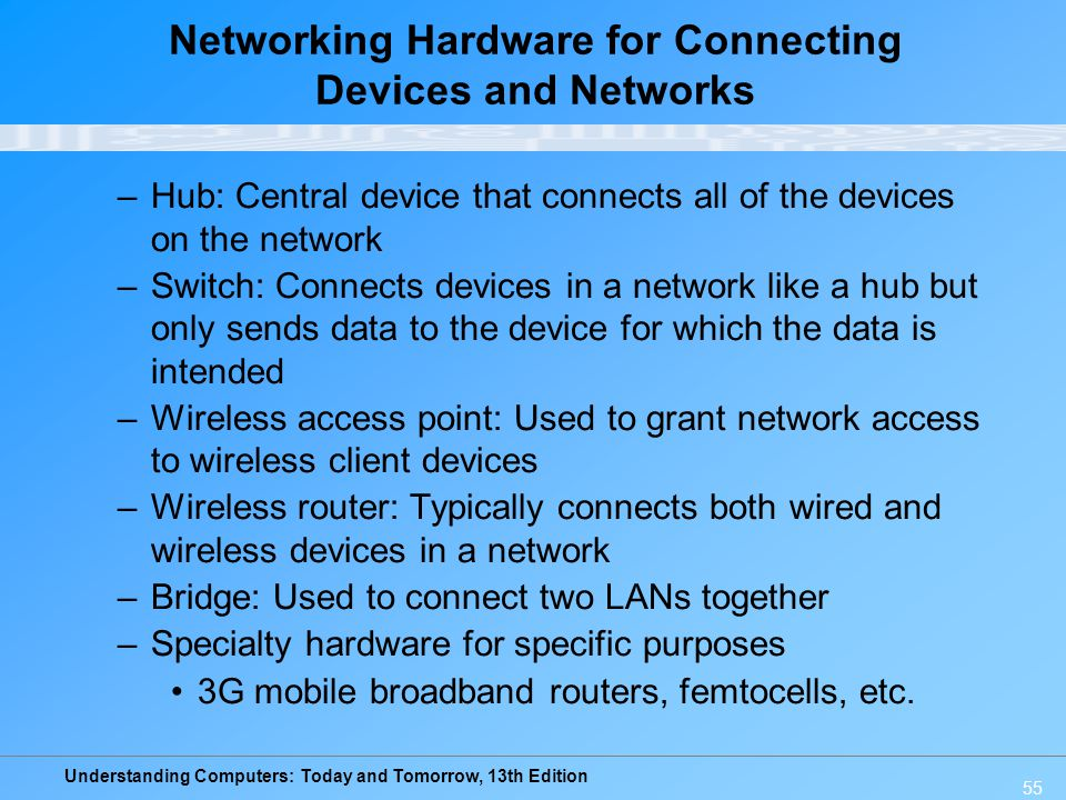Understanding Computers: Today and Tomorrow, 13th Edition 55 Networking Hardware for Connecting Devices and Networks –Hub: Central device that connect
