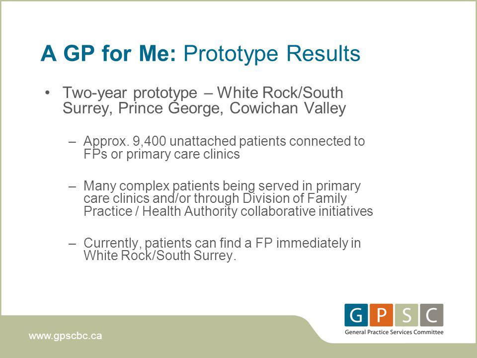 www.gpscbc.ca A GP for Me: Prototype Results Two-year prototype – White Rock/South Surrey, Prince George, Cowichan Valley –Approx.