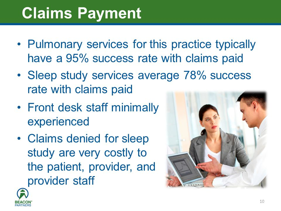 Heading – Ariel 40 Pulmonary services for this practice typically have a 95% success rate with claims paid Sleep study services average 78% success rate with claims paid 10 Claims Payment Front desk staff minimally experienced Claims denied for sleep study are very costly to the patient, provider, and provider staff