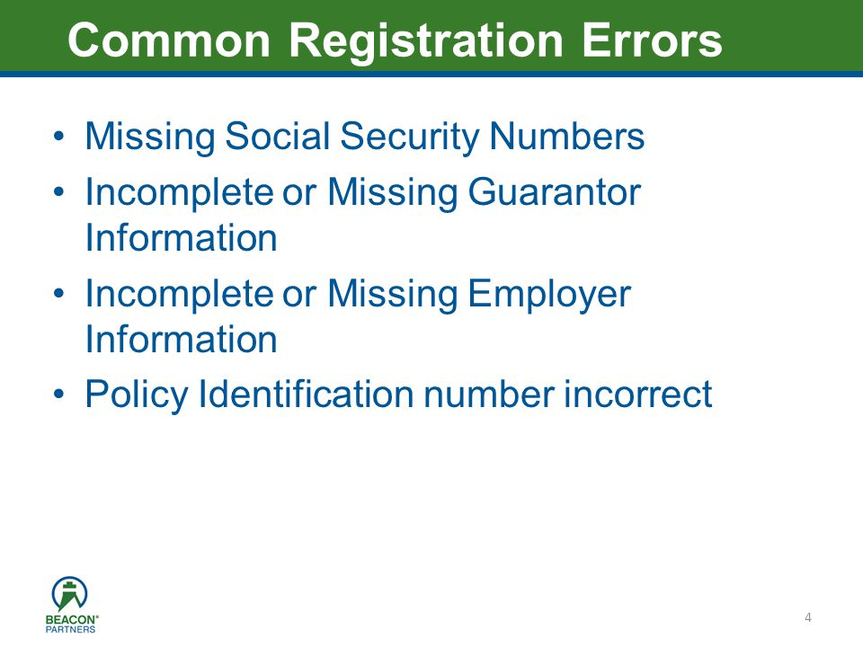 Heading – Ariel 40 Missing Social Security Numbers Incomplete or Missing Guarantor Information Incomplete or Missing Employer Information Policy Ident
