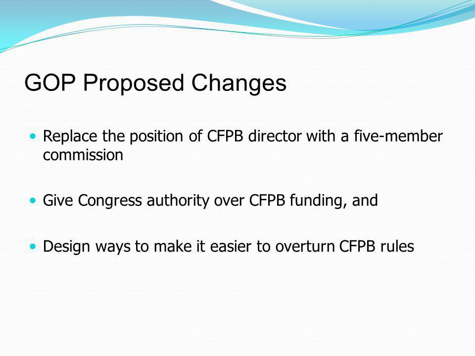 GOP Proposed Changes Replace the position of CFPB director with a five-member commission Give Congress authority over CFPB funding, and Design ways to