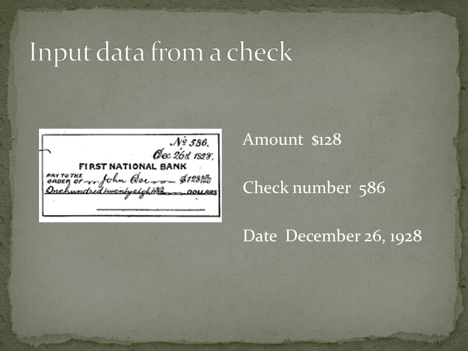 Amount $128 Check number 586 Date December 26, 1928